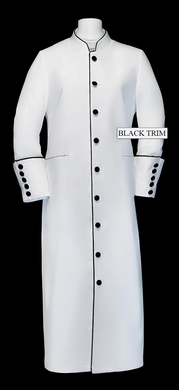 168 W. Women's Clergy/Pastor Robe - White/Black Trim