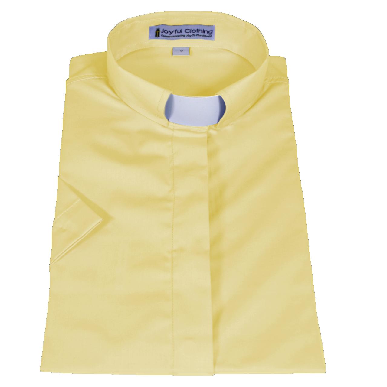566. Women's Short-Sleeve Tab-Collar Clergy Shirt - Banana