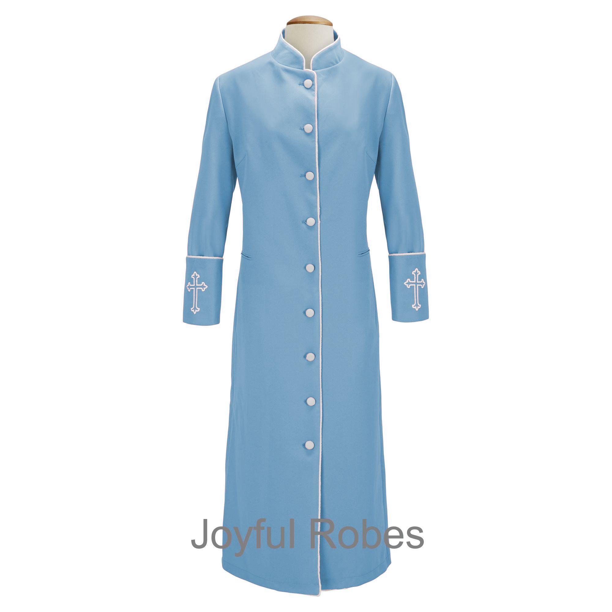 211 W. Women's Clergy/Pastor Robe - Light Blue/White Design