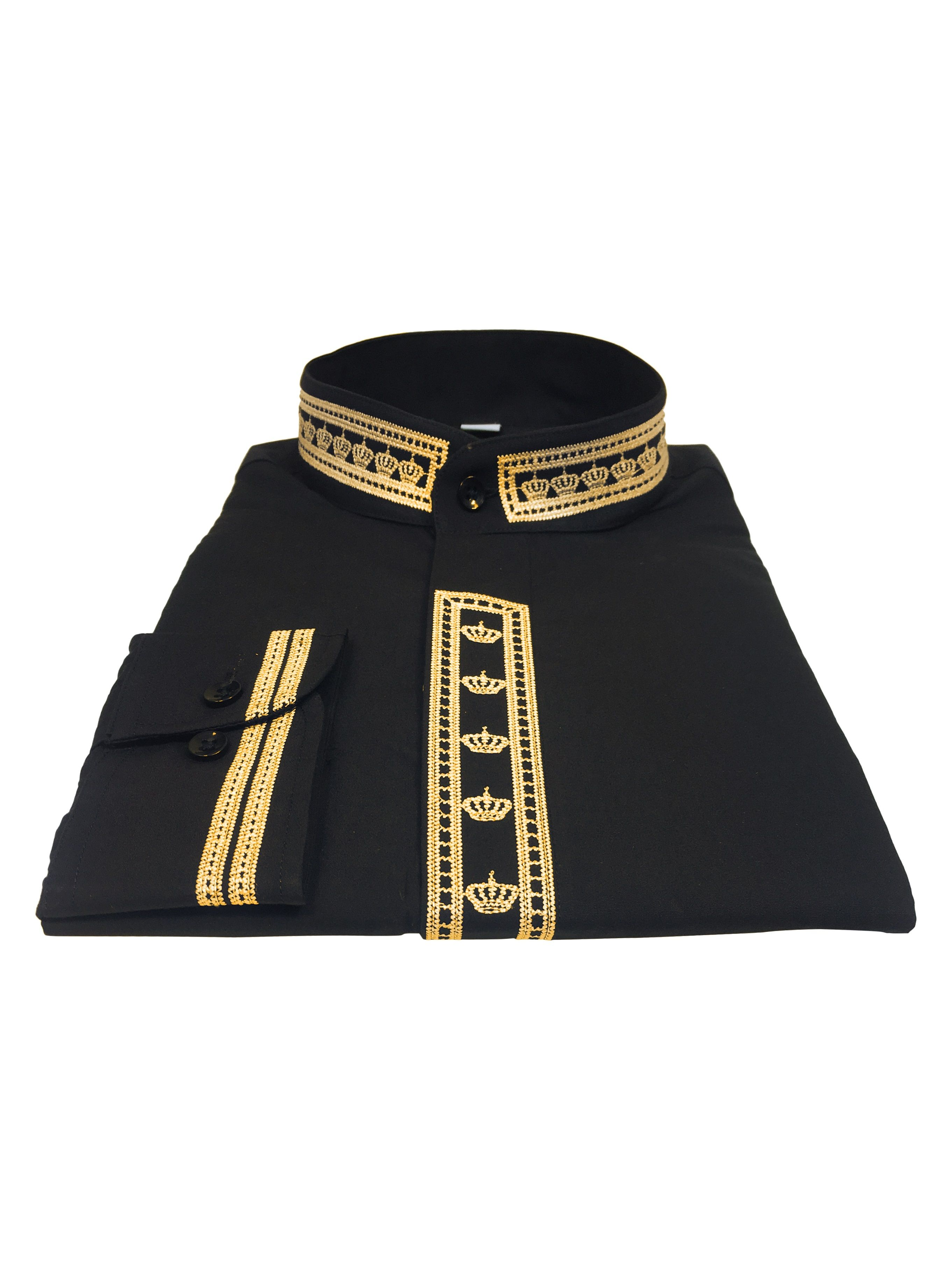 342. Men's Clergy Shirt With Rejoice Crown Fine Embroidery Long Sleeves- Black/Gold