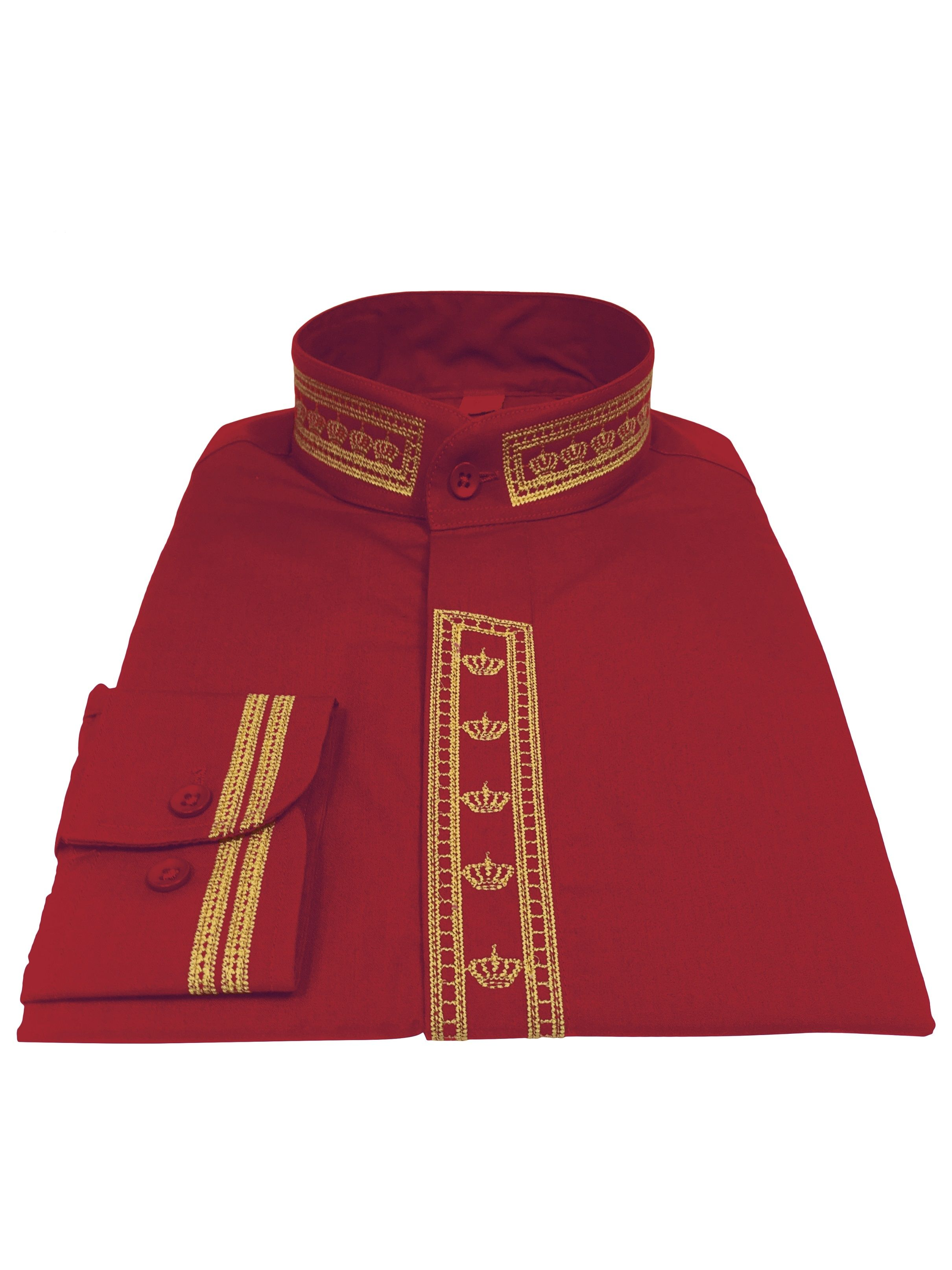 348. Men's Clergy Shirt With Rejoice Crown Fine Embroidery Long Sleeves- Red/Gold