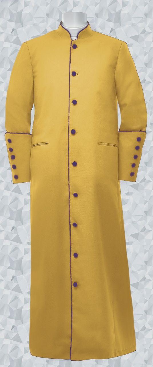 158 M. Men's Pastor/Clergy Robe - Gold/Purple Trim