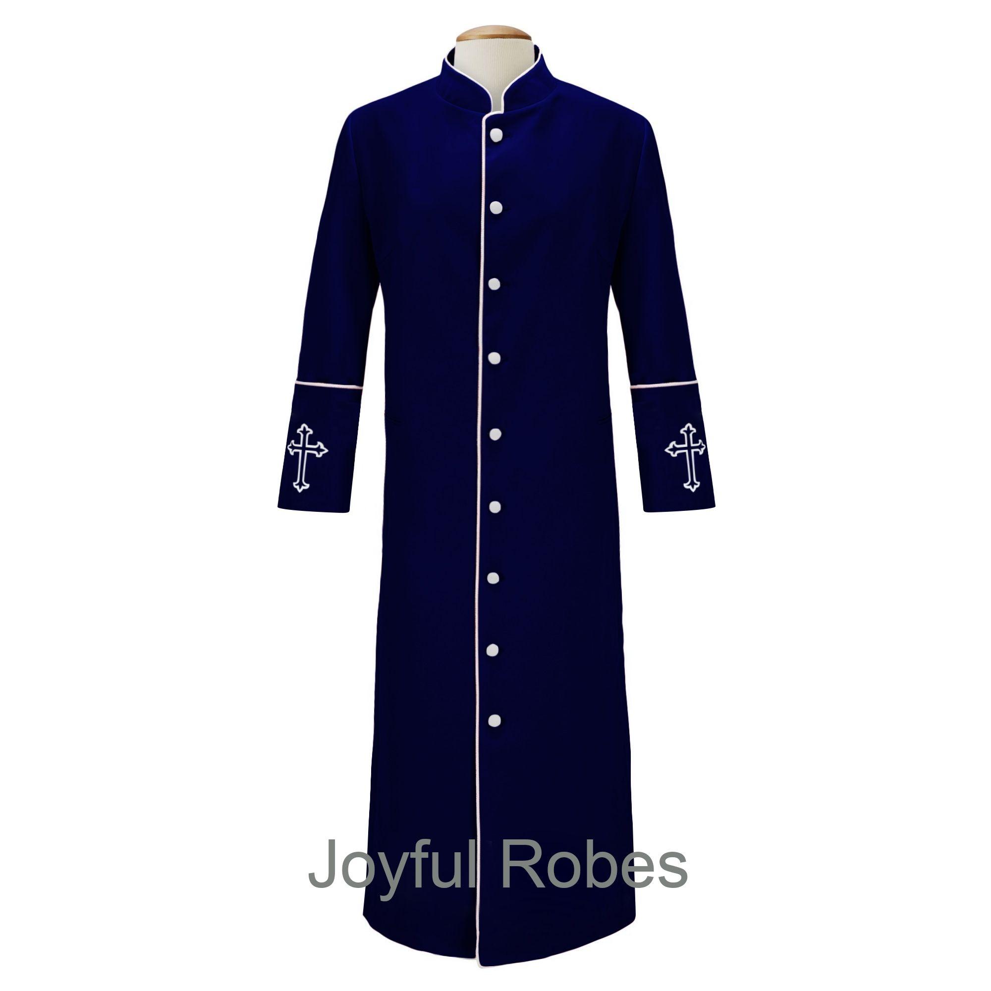 206 M. Men's Clergy/Pastor Robe Navy/White Design