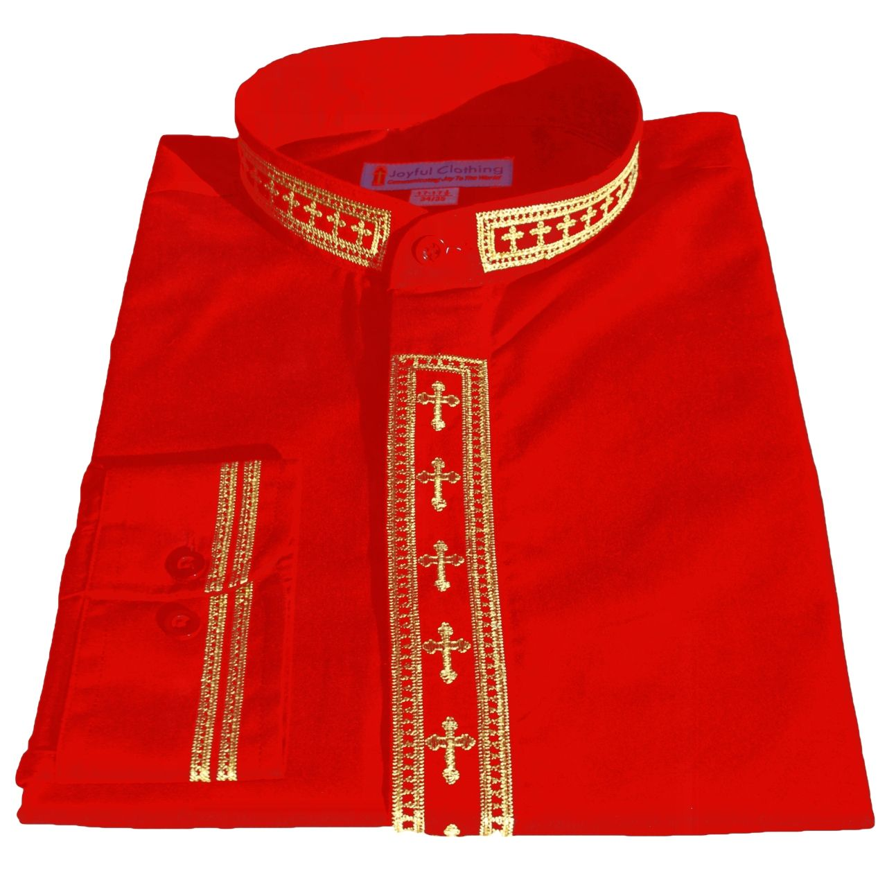 319. Men's Long-Sleeve Clergy Shirt With Fine Embroidery - Red/Gold