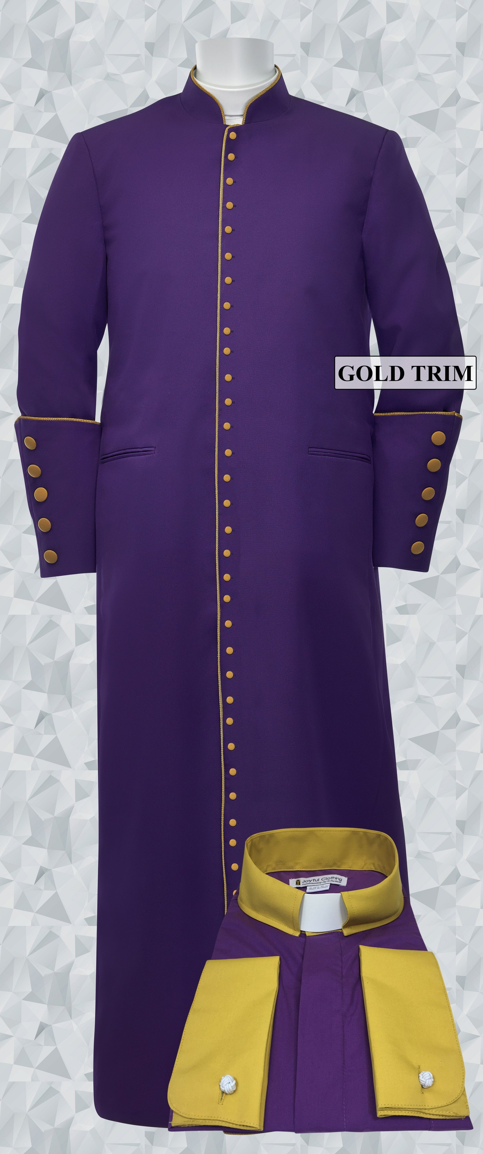 254 M. Men's Roman Cassock & Custom Shirt Package Purple/Gold