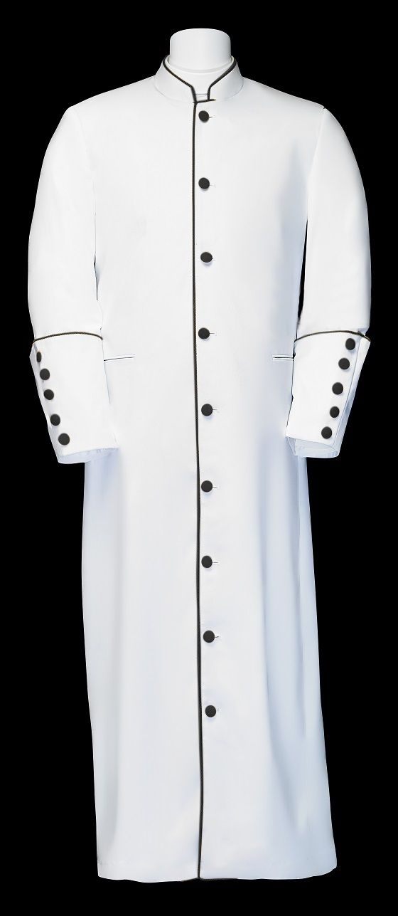 168 M. Men's Clergy/Pastor Robe - White/Black Trim