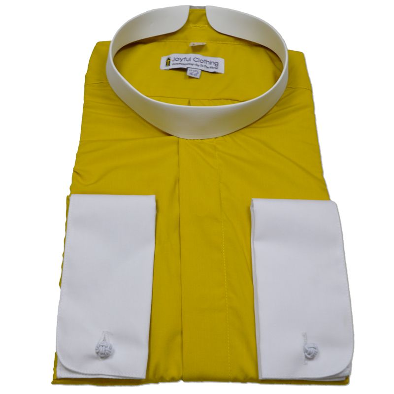 210. Men's Full-Collar Banded Clergy Shirt - Gold with White Cuffs