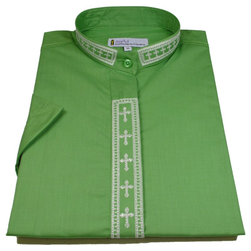 365. Men's Short-Sleeve Clergy Shirt With Fine Embroidery - Green/Creme