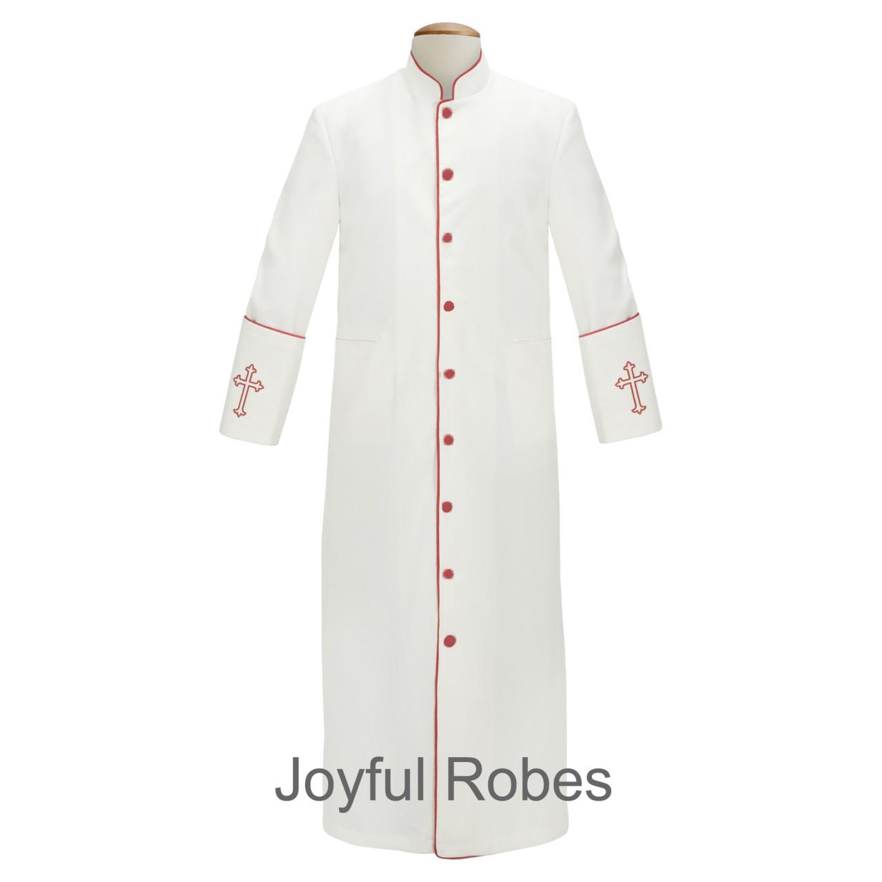 201 M. Men's Clergy/Pastor Robe - White/Red Design