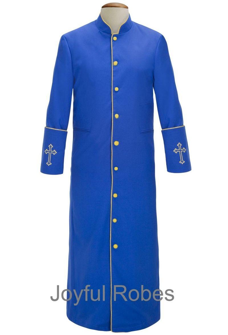 208 M. Men's Clergy/Pastor Robe Royal/Gold Design