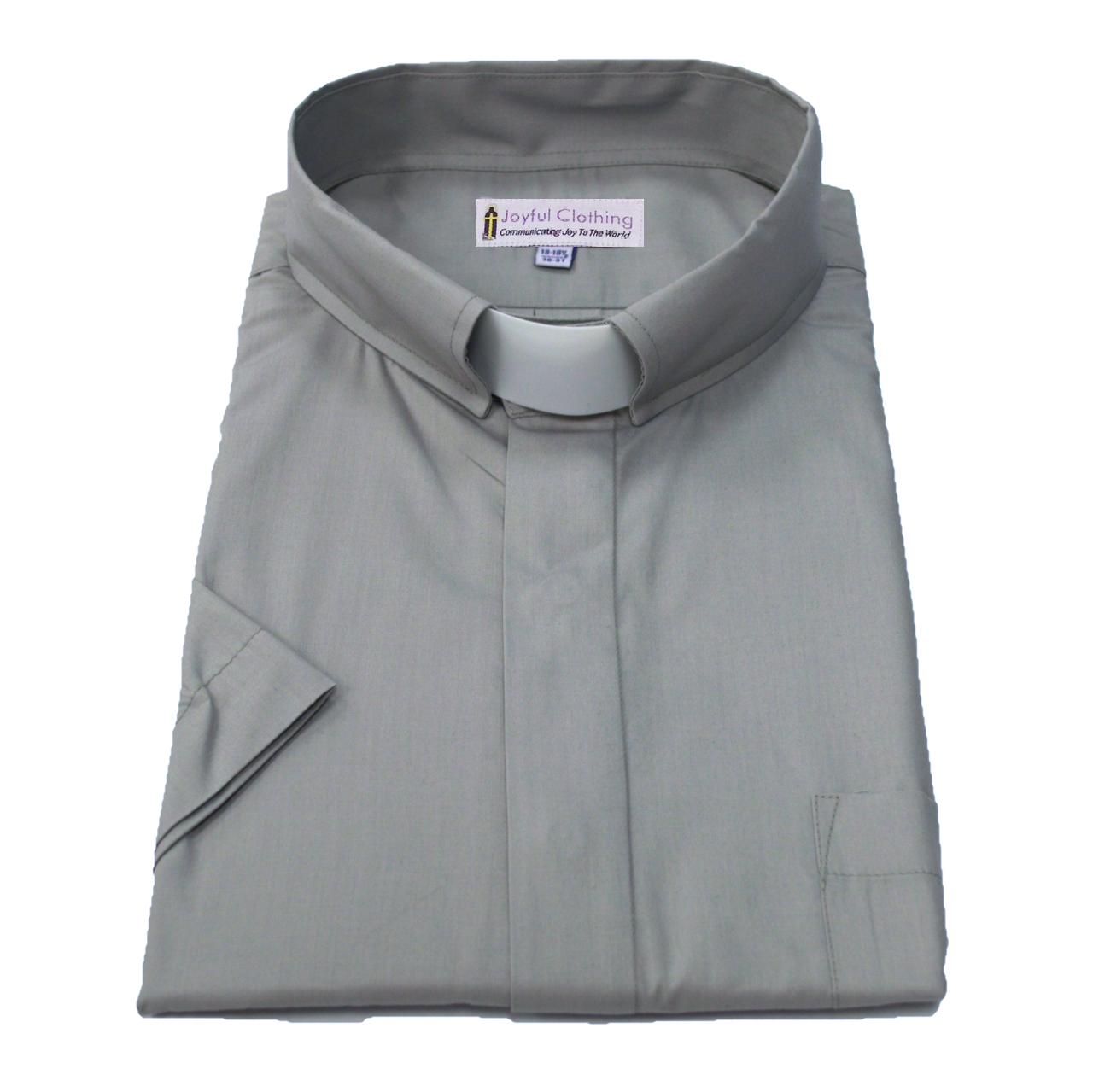 161. Men's Short-Sleeve Tab-Collar Clergy Shirt - Gray