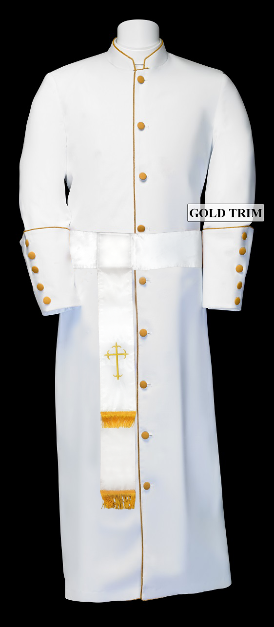 182 M. Men's Pastor/Clergy Robe - White/Gold Matching Cincture Set