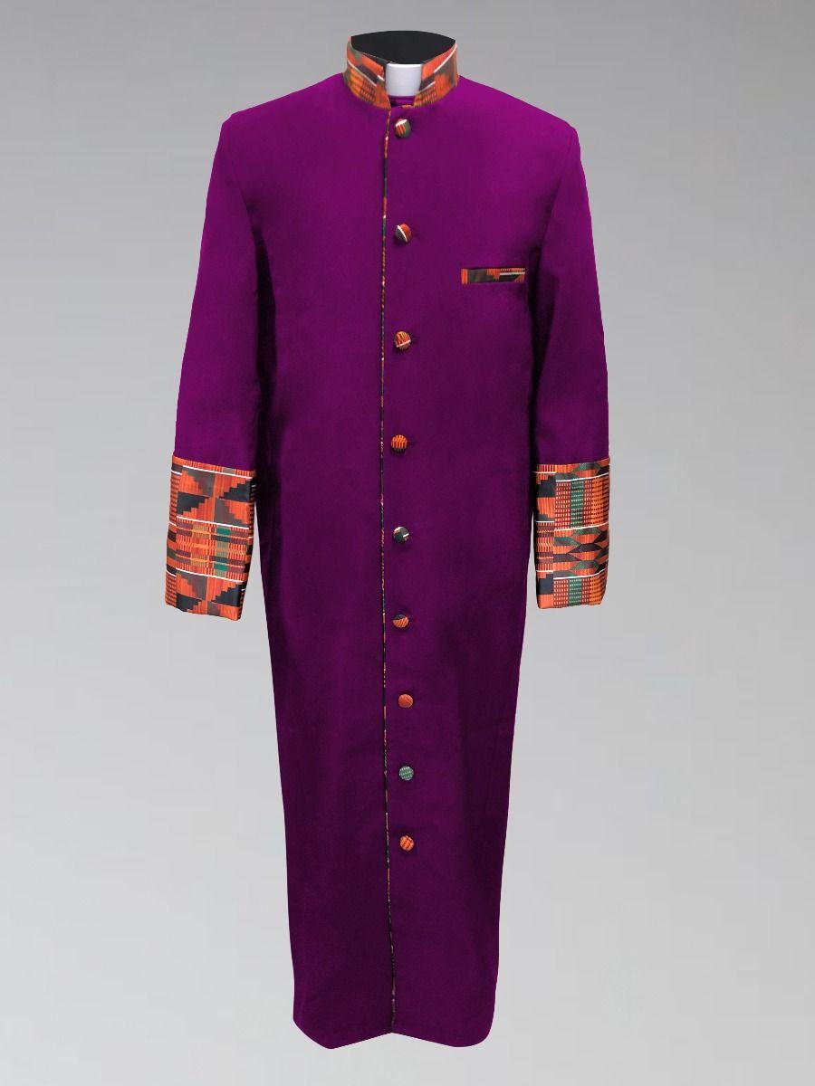 Men's Purple Kente Cloth Clergy Robe