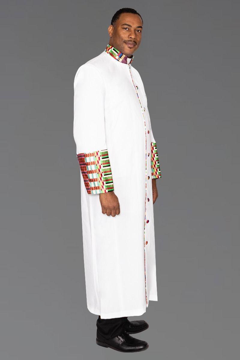 Men's White Clergy Kente Robe Kwangali Fabric
