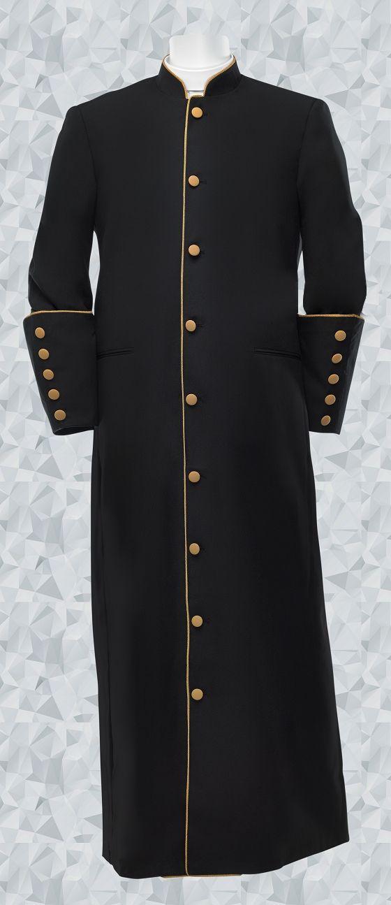 160 M. Men's Clergy/Pastor Robe Black/Gold Trim