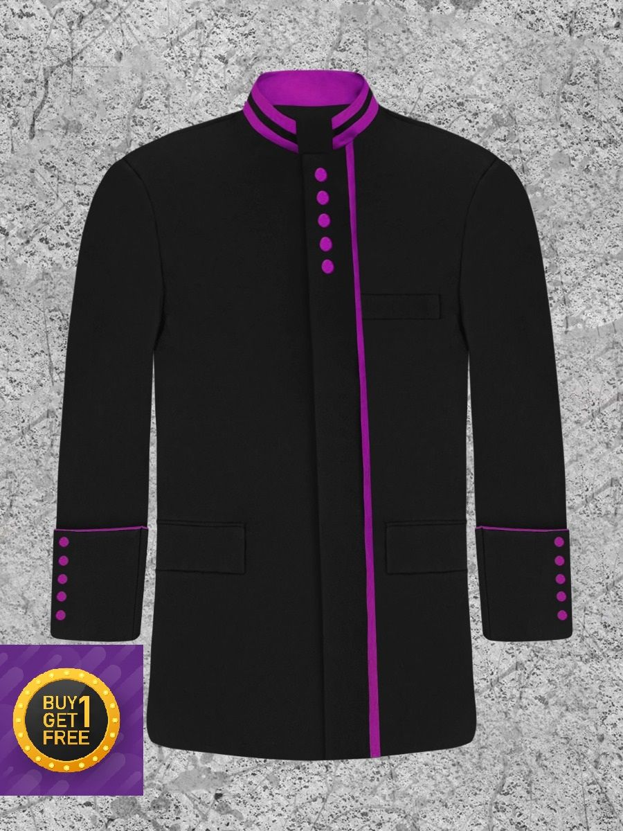 *Cyber Monday* Men's Modern Button Frock Clergy Jacket - Black with Purple