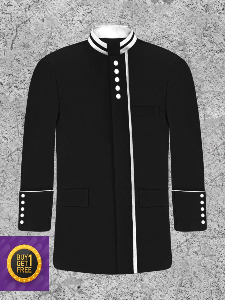 *Black Friday* Men's Modern Button Frock Clergy Jacket - Black with White