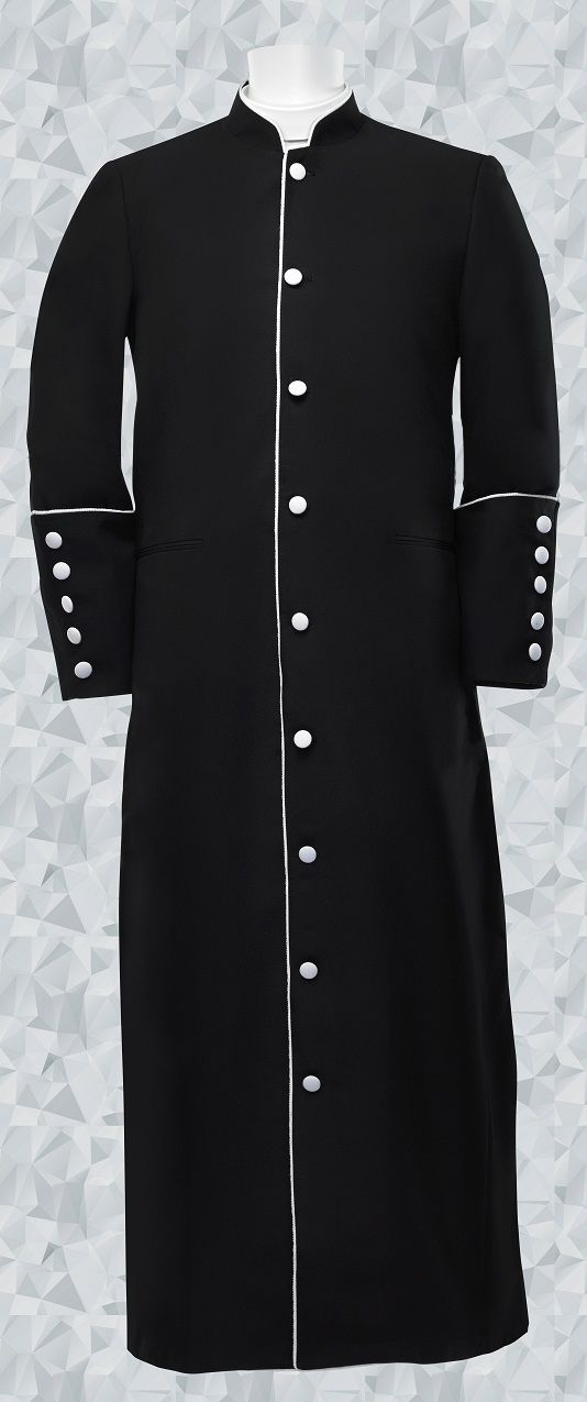 Men's Clergy Robe Black/White Trim