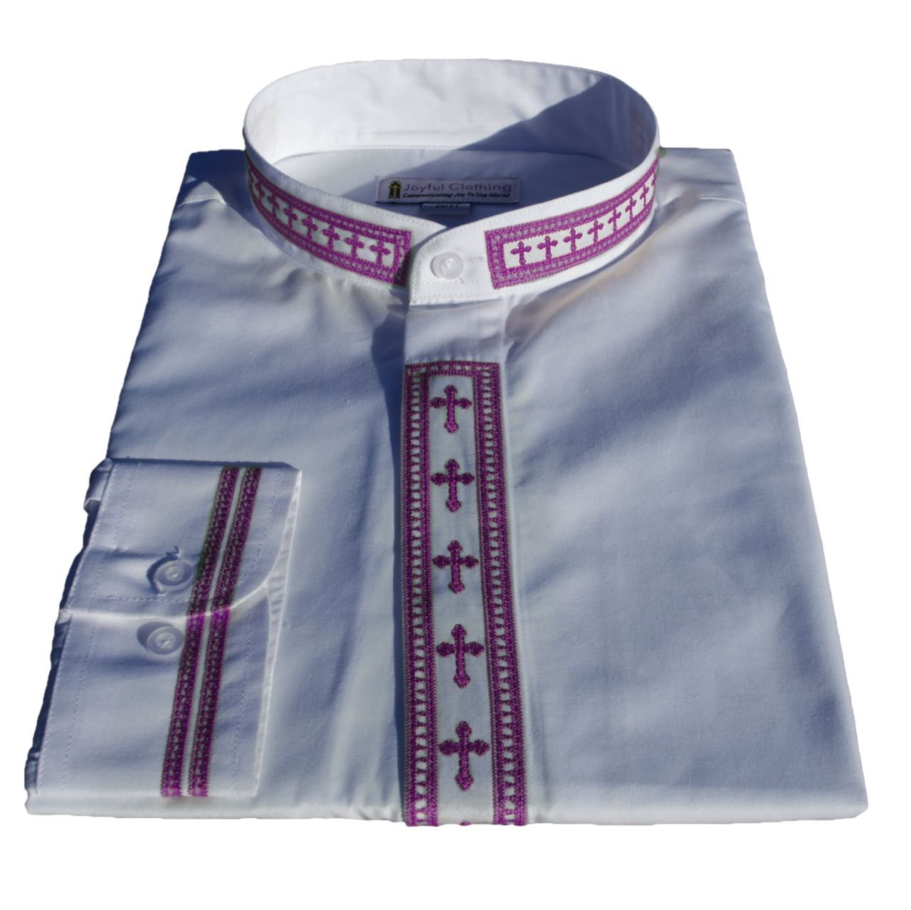 317. Men's Long-Sleeve Clergy Shirt With Fine Embroidery - White/Purple