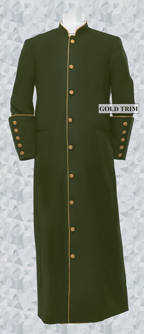 156 M. Men's Classic Pastor/Clergy Robe - Olive Green/Gold Trim