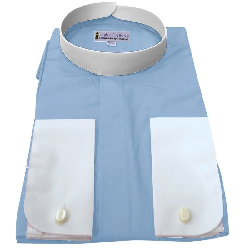 214. Men's Full-Collar Banded Clergy Shirt - Light Blue with White Cuffs