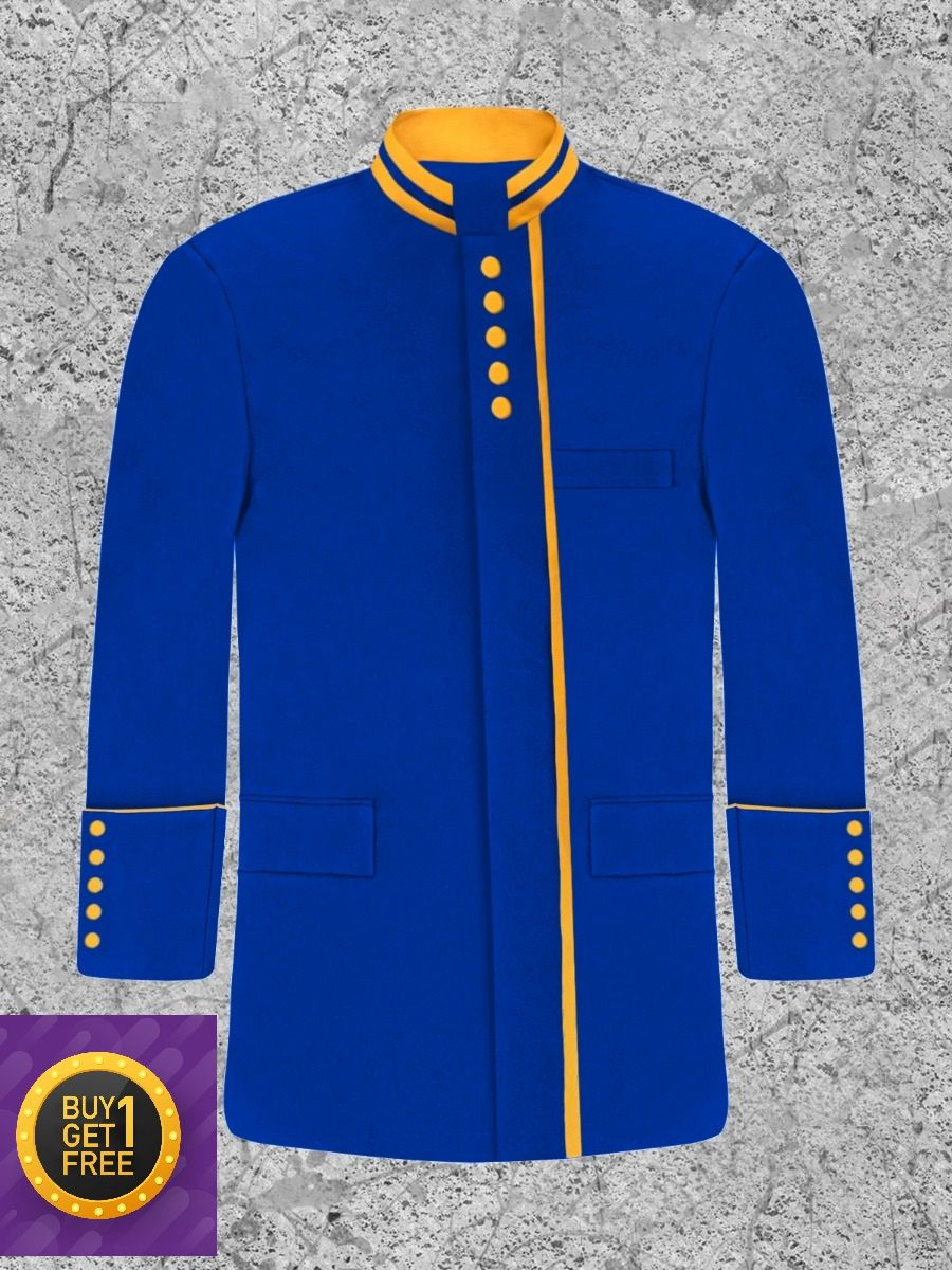 *Black Friday* Men's Modern Button Frock Clergy Jacket - Royal with Gold