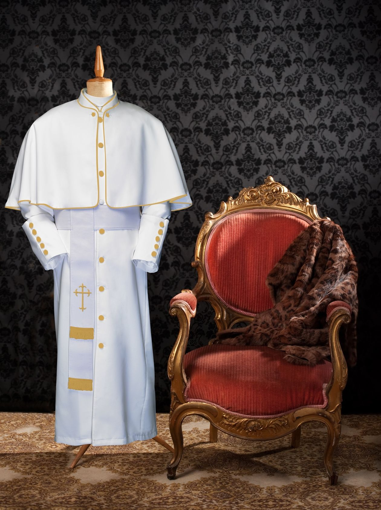 173 M. Limited Exclusive Men's Pastor/Clergy Robe White/Gold Luxury Ensemble