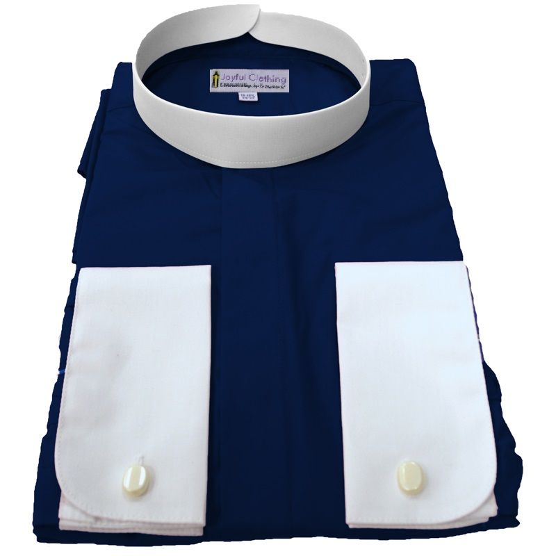 212. Men's Full-Collar Banded Clergy Shirt - Navy with White Cuffs