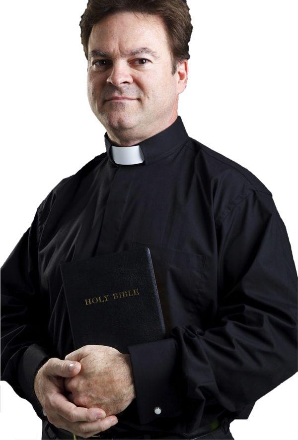 101. Men's Long-Sleeve Tab-Collar Clergy Shirt - Black
