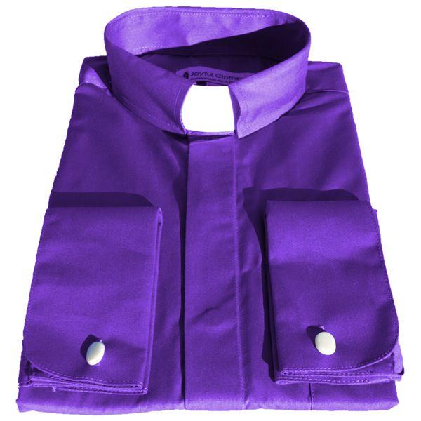 105. Men's Long-Sleeve Tab-Collar Clergy Shirt - Purple