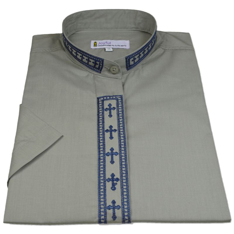 363. Men's Short-Sleeve Clergy Shirt With Fine Embroidery - Silver/Navy