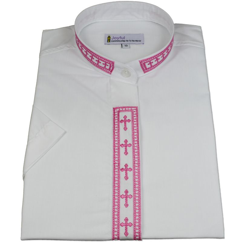 358. Men's Short-Sleeve Clergy Shirt With Fine Embroidery - White/Fuchsia