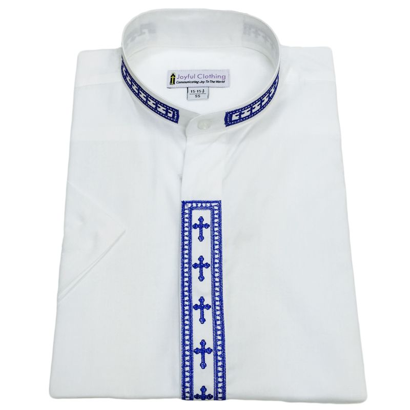 360. Men's Short-Sleeve Clergy Shirt With Fine Embroidery - White/Royal
