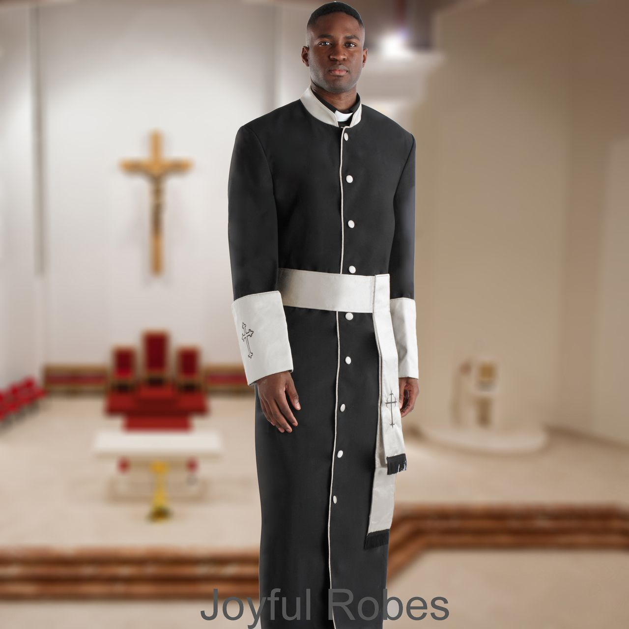 357 M. Men's Pastor/Clergy Robe - Black/White Cuff Matching Cincture Set