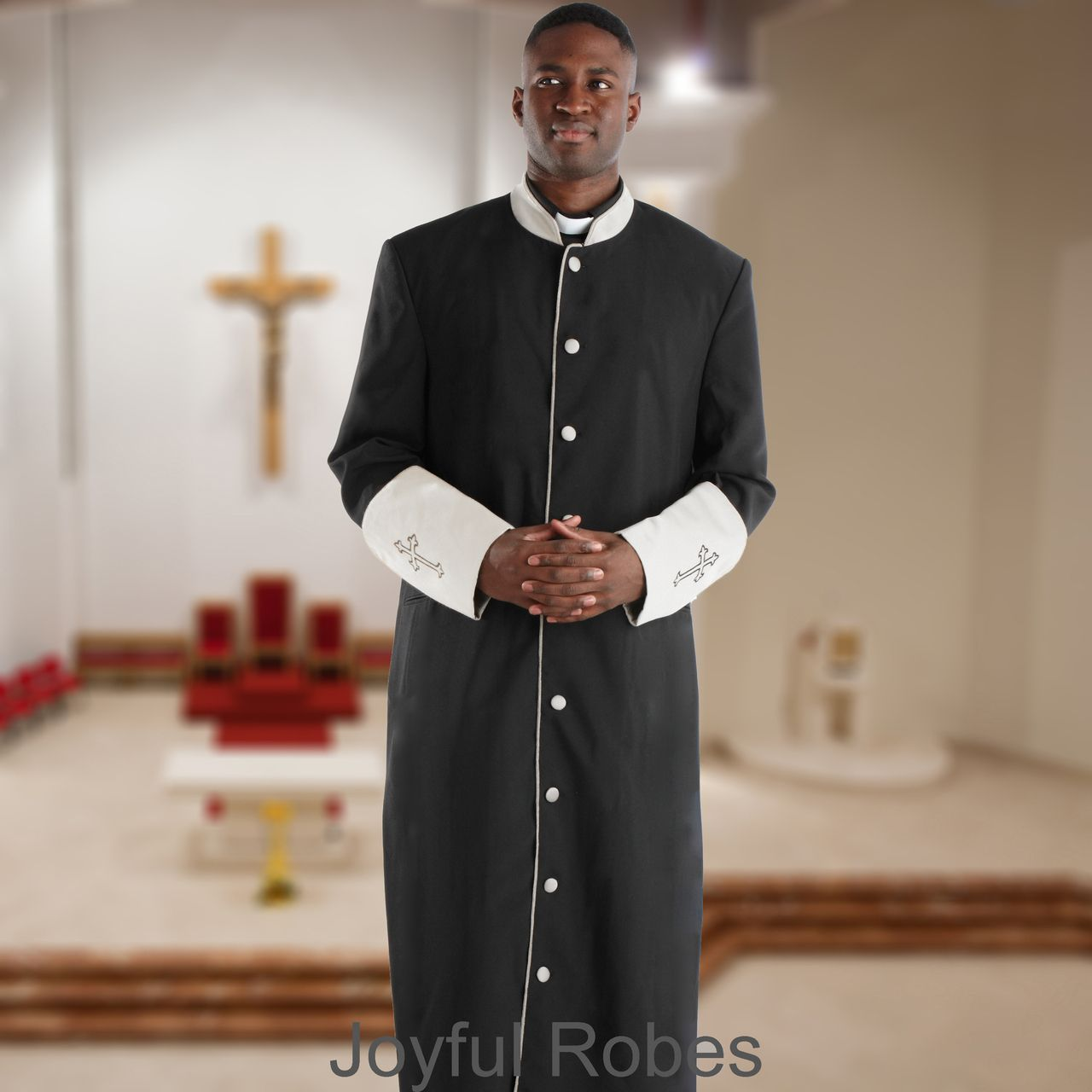 305 M. Men's Pastor/Clergy Robe - Black/White Cuff