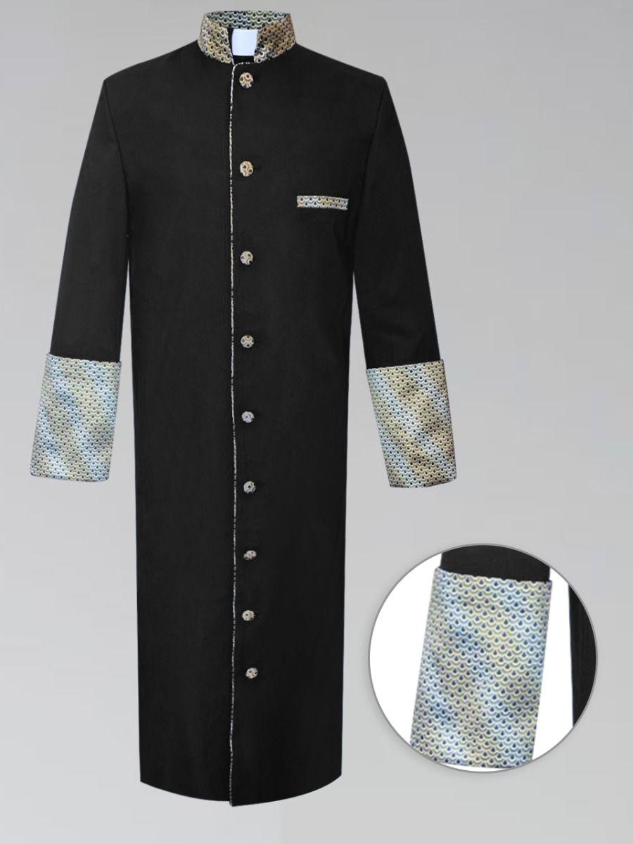 Black and Gold Custom Brocade Mens Clergy Robe