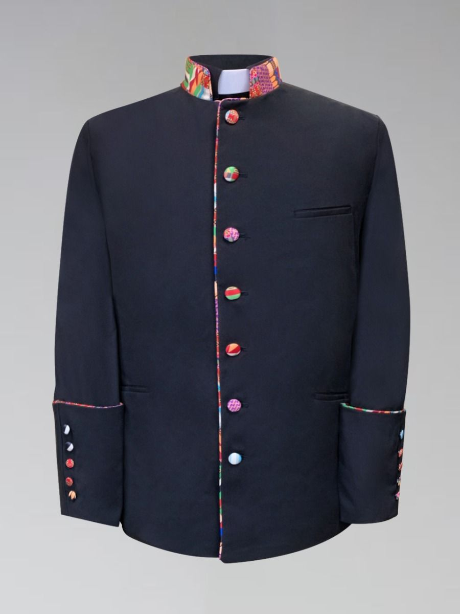 Men's Clergy Frock Jacket with African Kwangli Cloth
