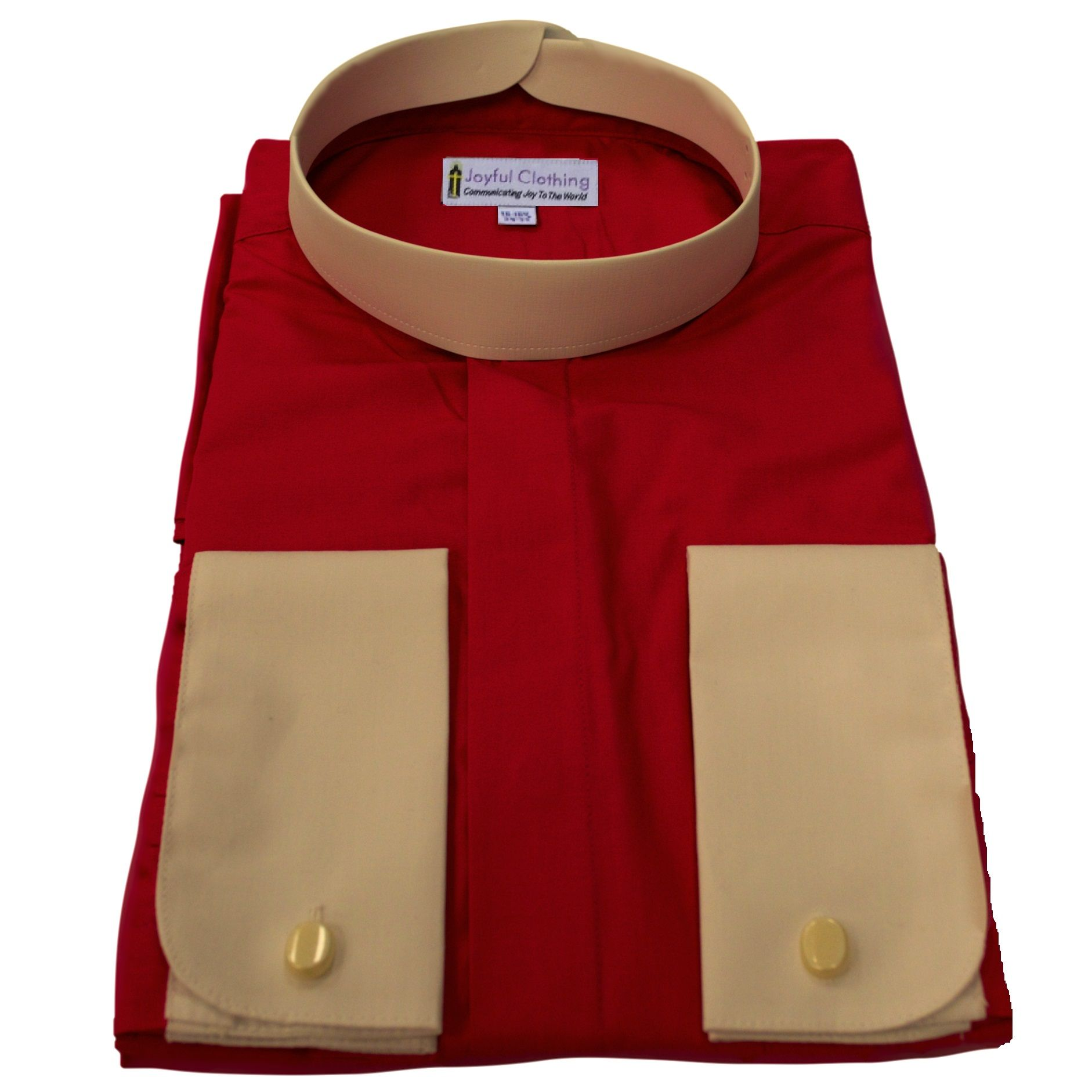 208. Men's Full-Collar Banded Clergy Shirt - Red with White Cuffs