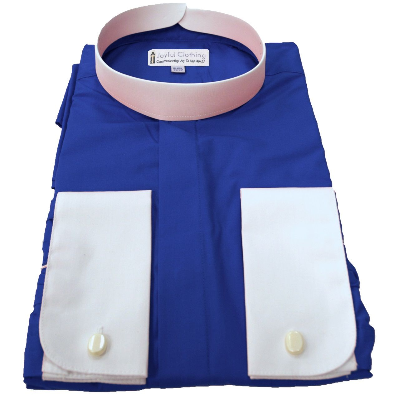 222. Men's Full-Collar Banded Clergy Shirt - Royal Blue with White Cuffs