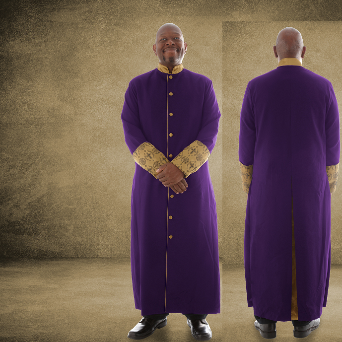812 M. Men's Premium Pastor/Clergy Robe - Purple/Gold with Fancy Pleats