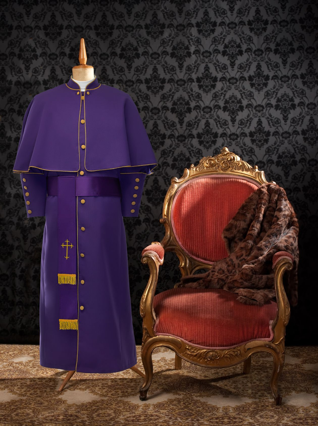 174 M. Limited Exclusive Men's Pastor/Clergy Robe Purple/Gold Luxury Ensemble