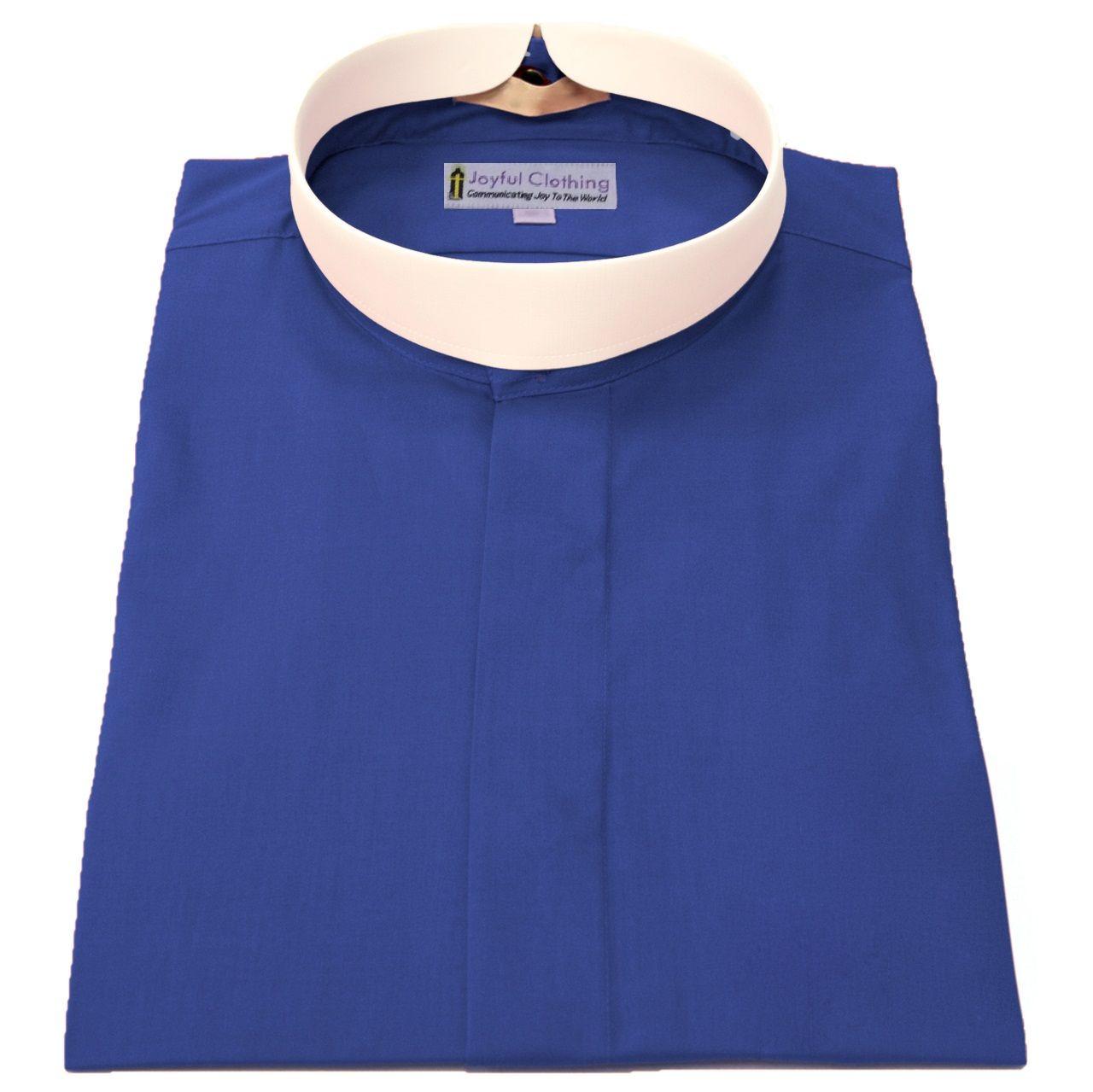 272. Men's Short-Sleeve (Banded) Full-Collar Clergy Shirt - Royal Blue