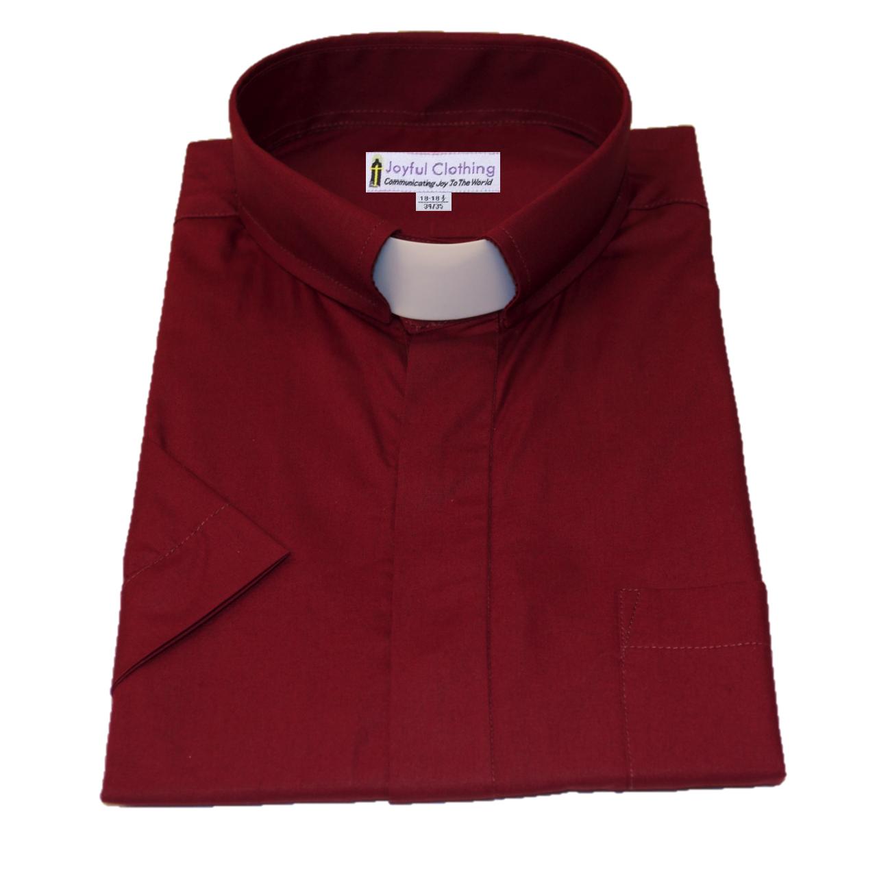 159. Men's Short-Sleeve Tab-Collar Clergy Shirt - Burgundy