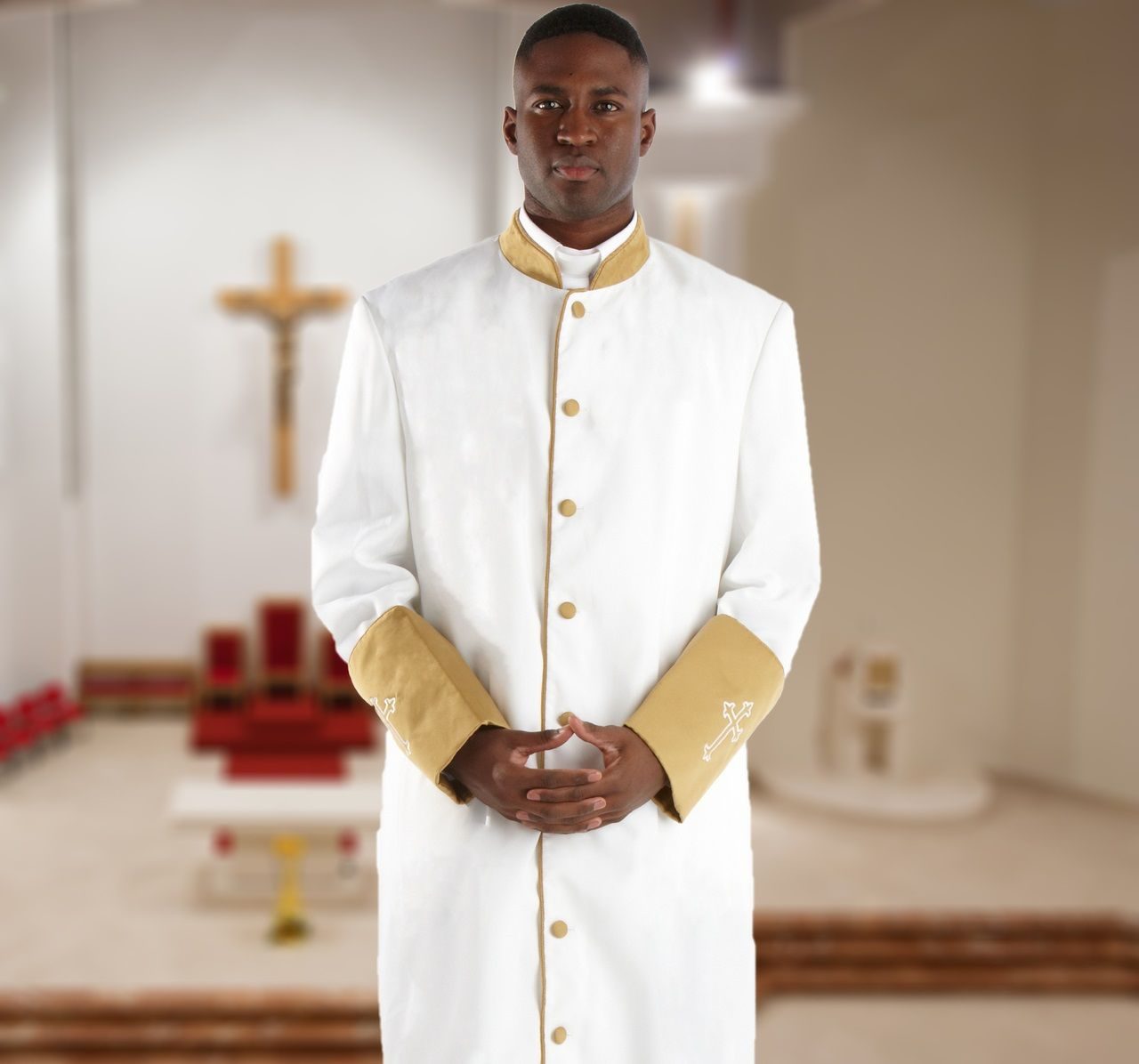 310 M. Men's Clergy Robe - White/Gold Cuffs