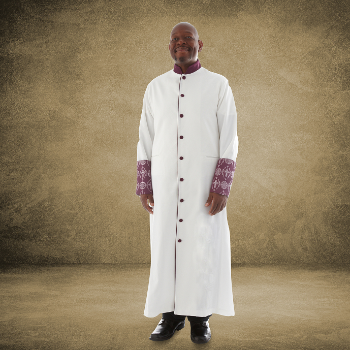 814 M. Men's Premium Pastor/Clergy Robe - White/Purple with Fancy Pleats