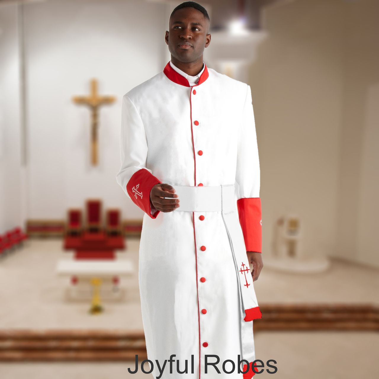 355 M. Men's Pastor/Clergy Robe - White/Red Cuff Matching Cincture Set