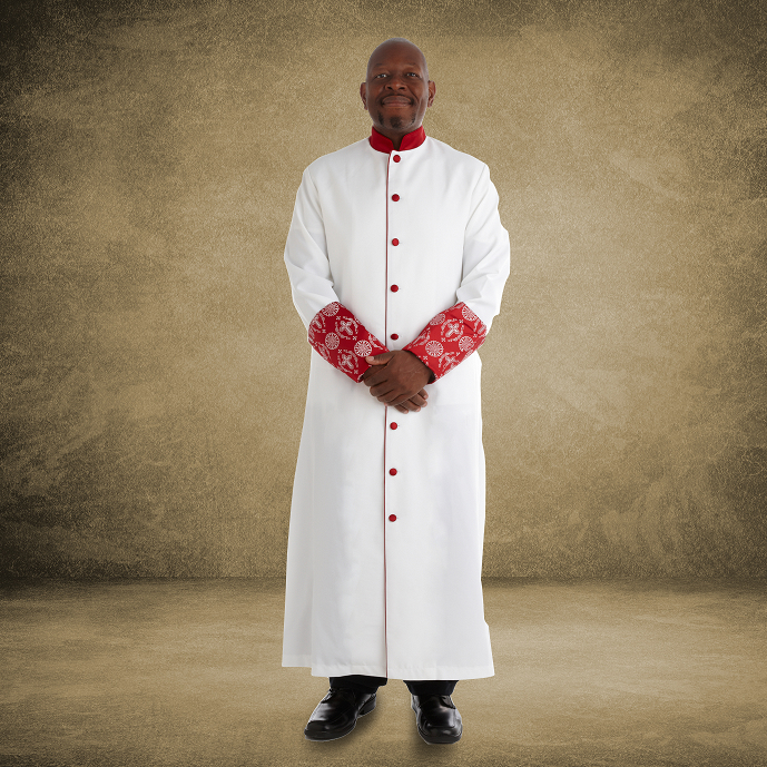 813 M. Men's Premium Pastor/Clergy Robe - White/Red with Fancy Pleats