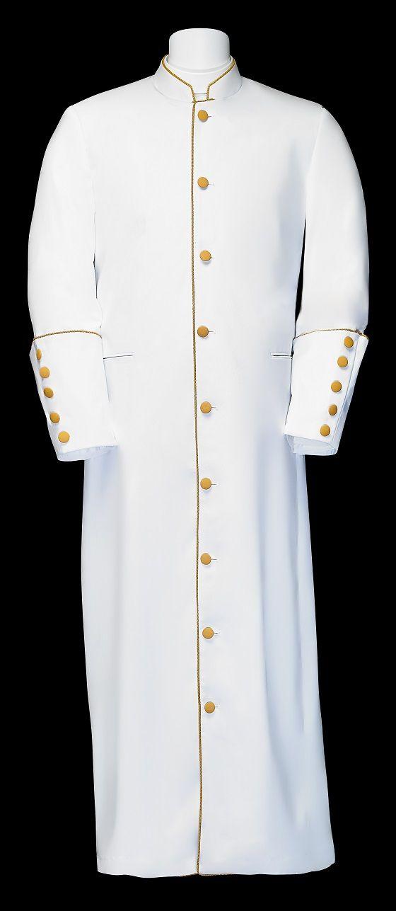 163 M. Men's Clergy/Pastor Robe - White/Gold Trim