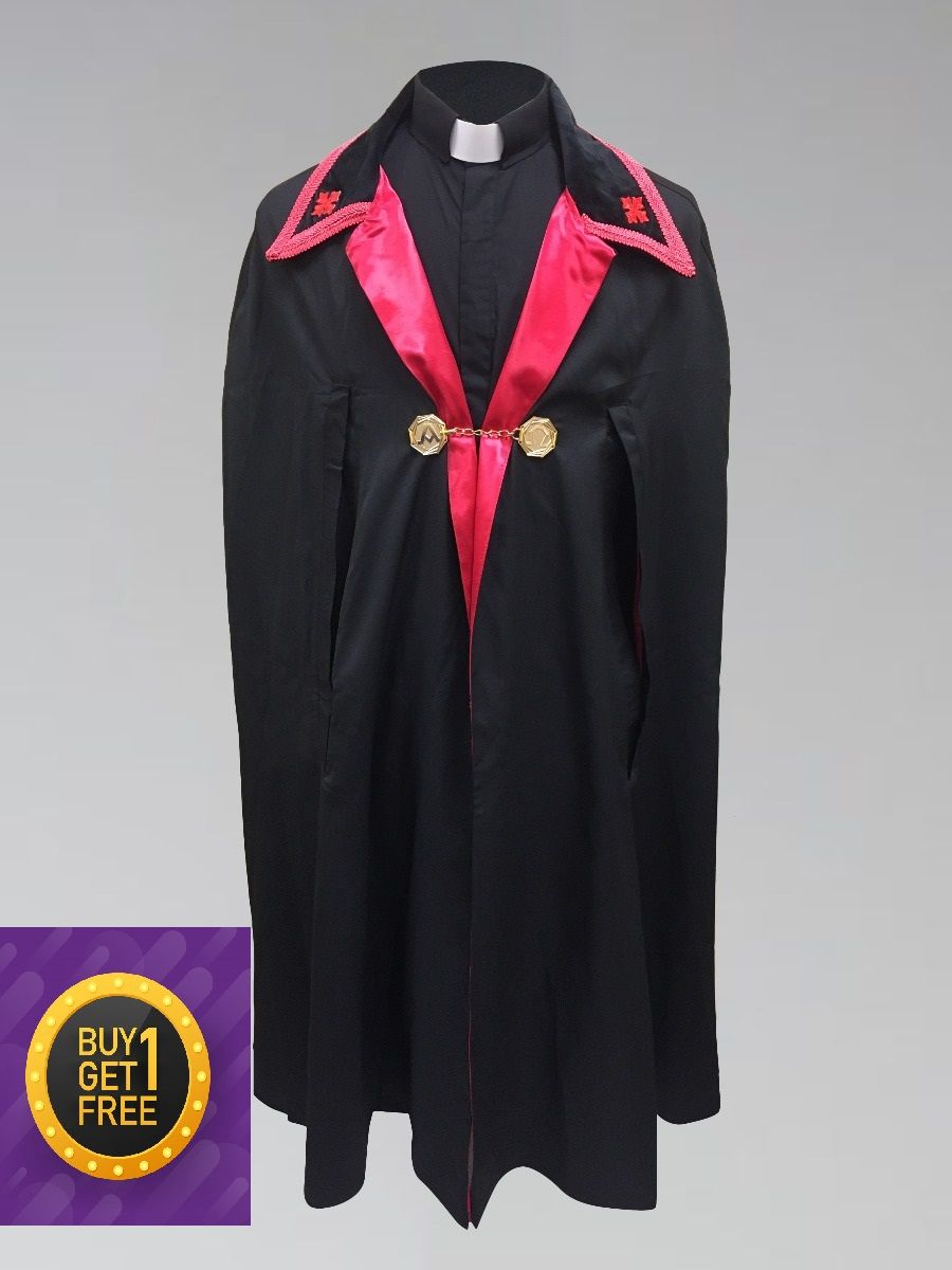 *Black Friday* Clergy Ministerial Cape Black with Red