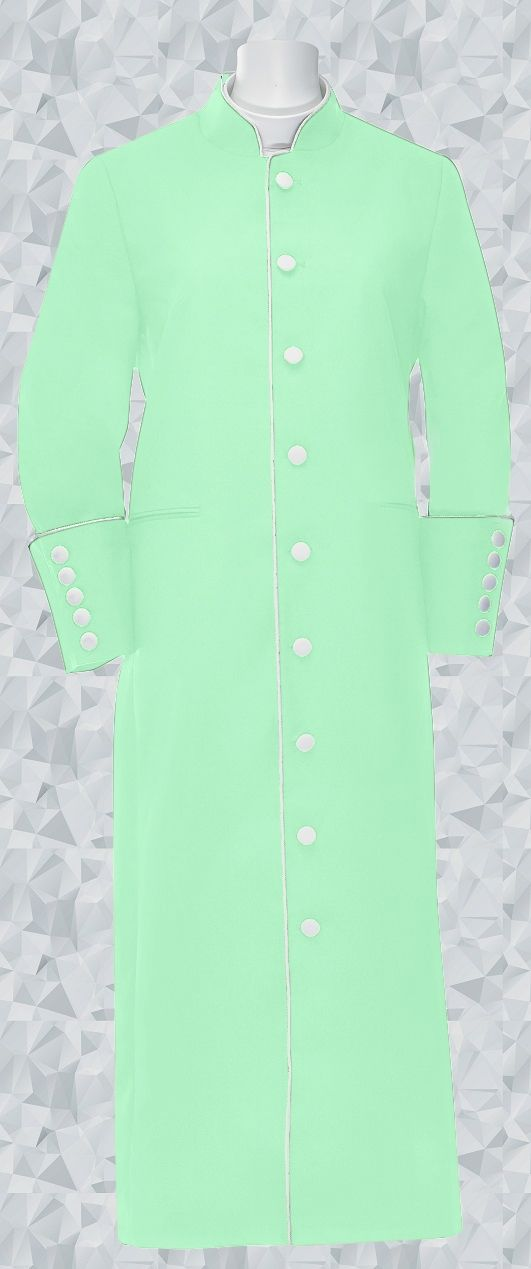 154 W. Women's Clergy/Pastor Robe Mint Green/White Trim